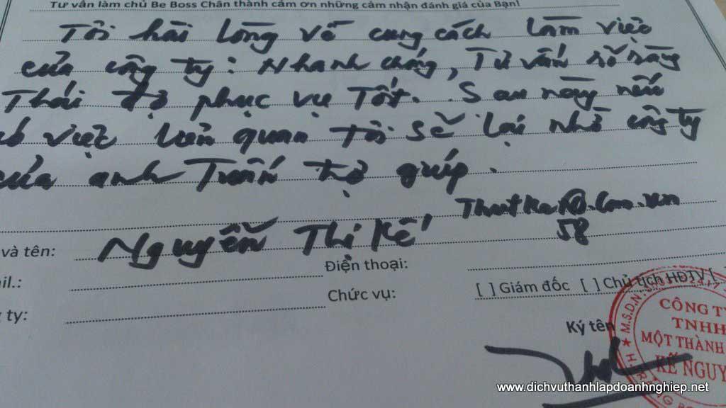 thủ tục thành lập công ty tnhh - Cảm nhận Nguyễn Thị Kế