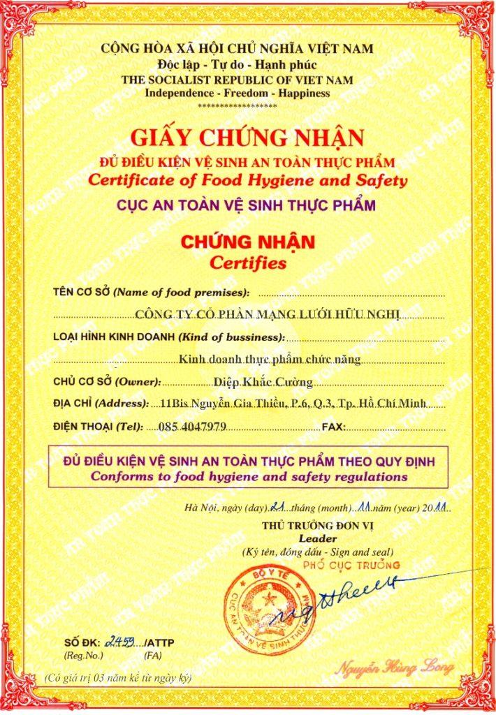 Mẫu giấy chứng nhận ATVSTP